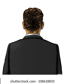 Man in suit from back or rear view in engraved style on transparent background