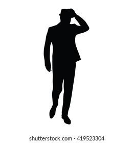 Man in suit bows hat. Vector silhouette. Man walks. Businessman, boss, gentleman, mobster, agent