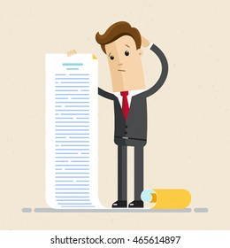 Man in a suit, businessman or manager, hold a long list or scroll of tasks. or questionnaire. Illustration, vector, flat