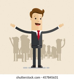 Man in suit, businessman or manager opens his arms. Meeting, welcome concept. Vector, flat, illustration