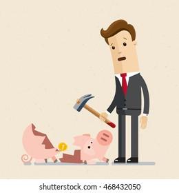 Man in suit, businessman or manager smash a piggy bank. Vector, illustration, flat