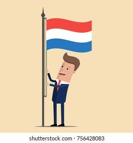 Man in suit, businessman raising waving flag of Netherlands. Vector illustration