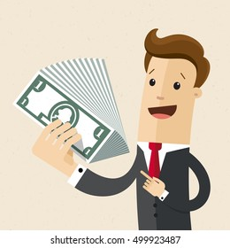 Man in a suit with cash money in hand. Business concept, investment, profit, benefits.  Vector, illustration, flat