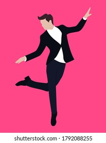 A man in a suit dancing alone and jumping
