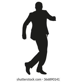 Man in suit dancing, vector silhouette