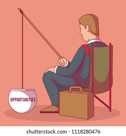 Man in a suit fishing for opportunities vector illustration. Job, finance, employee, work, money, company, unemployment design concept