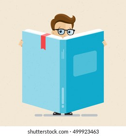 Man in suit and glasses stands with large book or diary. Accountant, lawyer, employee, clerk. Vector, illustration, flat