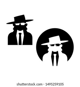 Man in suit and hat. Secret service agent icon. Agent icon. Spy sunglasses
