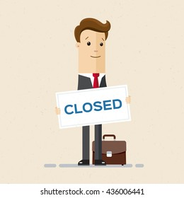 Man in suit hold a sign Closed in his hands. Vector, flat, illustration