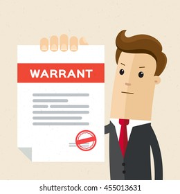 Man in suit, lawyer shows a document, warrant. Vector, flat, illustration