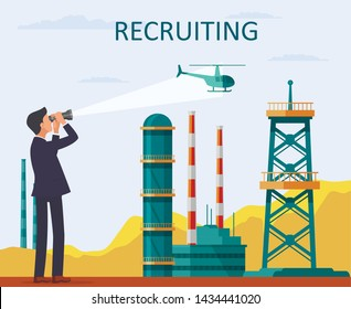 Man in Suit Looks Through Binoculars Helicopter. Helicopter Flies Over Plant. Businessman in Business Suit. Vector Illustration. Recruitment Agency. Management and Organization. Recruiting Director.