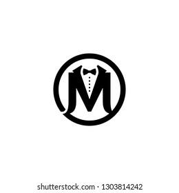 Man Suit M Letter Fashion Brand Logo.Tuxedo logo.Bow Tie Logo, Business suit logotype.Monogram