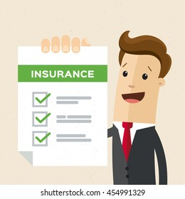 Man in suit, manager or agent shows a document, insurance. Vector, flat, illustration