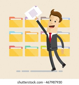 Man in suit, manager or employee, is folding and sorting documents or letters into folders. Vector, illustration, flat