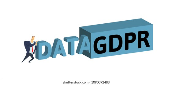Man in suit pushing data into big GDPR container. Concept flat vector illustration. Isolated on white background.