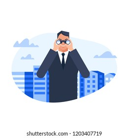 Man in suit standing among city buildings and watching through binoculars . Flat style vector illustration isolated on white background