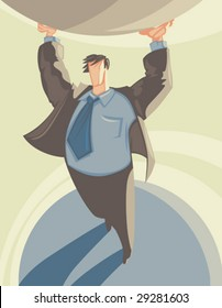 Man in suit supporting globe like Atlas. Vector illustration.