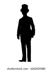 Man in suit with top hat silhouette vector