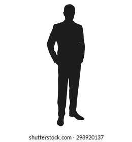 Man in suit, vector silhouette