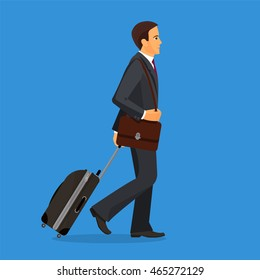 Man with suitcase is going in airport terminal. Colorful vector flat illustration.