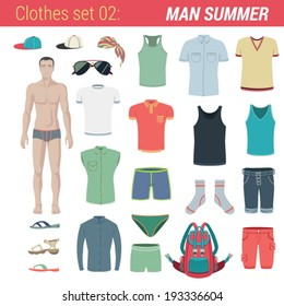 Man summer clothing vector icon set. Pants, trunks, socks, hat, t-shirt, backpack, flippers, shirt, shorts, sunglasses, breeches.   Clothes collection.