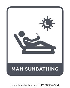 man sunbathing icon vector on white background, man sunbathing trendy filled icons from Behavior collection, man sunbathing vector illustration