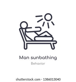 man sunbathing outline icon. isolated line vector illustration from behavior collection. editable thin stroke man sunbathing icon on white background