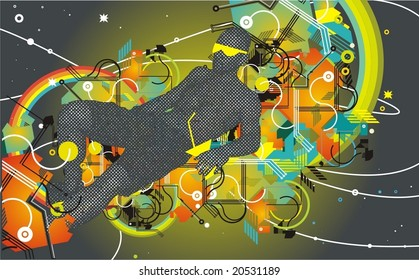man with sunglasses drinking cocktail,abstract background