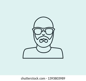 Man with sunglasses icon line isolated on clean background. Man with sunglasses icon concept drawing icon line in modern style. Vector illustration for your web mobile logo app UI design.