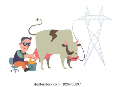 Man in the sunglasses mines bitcoin milking a cow, cartoon comic vector illustration