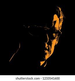 Man in sunglasses portrait silhouette in backlight. Vector. Illustration.