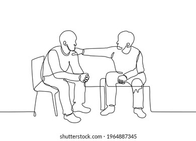 man supports a friend, a guy put his hand on a friend's shoulder - one line drawing. two men sit side by side, one of whom addresses or psychologically (morally) supports the other