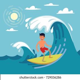 Man surfing on wave. Vector illustartion on flat stile