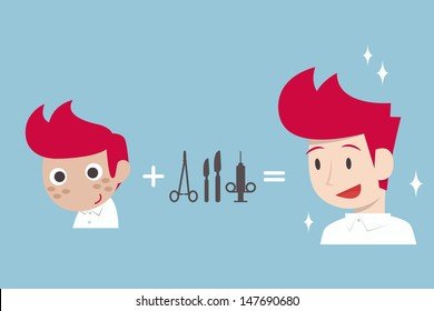 man surgery cartoon, vector