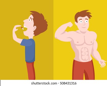 man swallows the pill and become muscular. Man takes a drug.Colorful hand drawn cartoon vector illustration