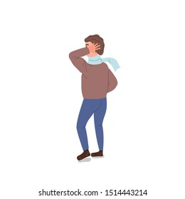 Man in sweater with scarf stands back and scratches his head. Thoughtful and mysterious character isolated on white background. Flat cartoon style vector illustration.