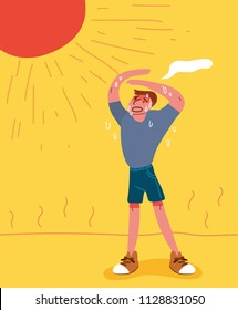 A man sweating in the hot summer. Flat illustration. EPS10