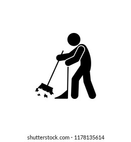 man sweeping icon. Element of man cleaning icon for mobile concept and web apps. Glyph man sweeping icon can be used for web and mobile