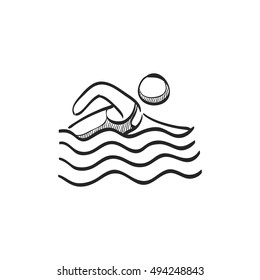 Man swimming icon in doodle sketch lines. Water sport athlete triathlon