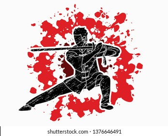 Man with sword action, Kung Fu pose graphic vector.