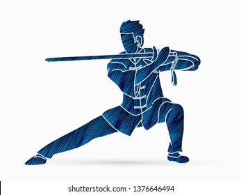 Man with sword action, Kung Fu pose graphic vector