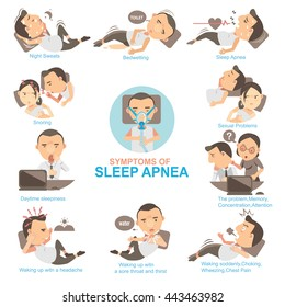 Man Symptoms and signs sleeping apnea  The impact on married life and his work.Info Graphics vector illustrations