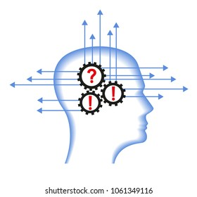 Man systematizes his thinking.Making right decision. Systematize with thinking concept. Brain efficiency