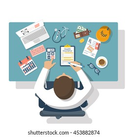 Man at table fills in the form of health insurance. Healthcare concept. Vector illustration flat design style. Life planning. Claim form. Medical equipment, money, prescription medications.