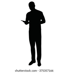 Man with tablet, vector silhouette of standing man