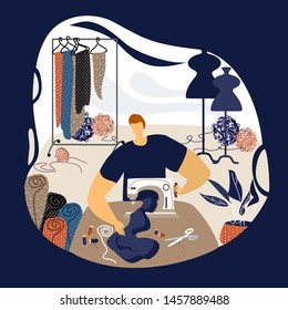 Man tailor in workplace. Dressmaker working at sewing machine. Busy sewing man in his workshop in a modern flat style. Vector flat illustration