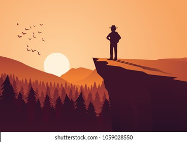 man take adventure in jungle,stand on cliff look to the sun in around with pine forest