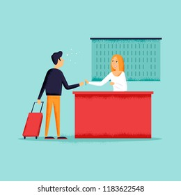 Man takes the keys to the room in the hotel. Check into a hotel. Reception desk. Flat design vector illustration. Texture