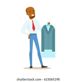 Man Taking Back Clean Jacket Sealed In Plastic, Part Of People Using Clothing Dry Cleaning Professional Service Set Of Vector Illustrations