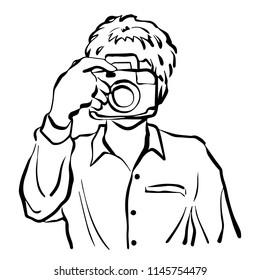 man taking photo vector illustration design hand drawing